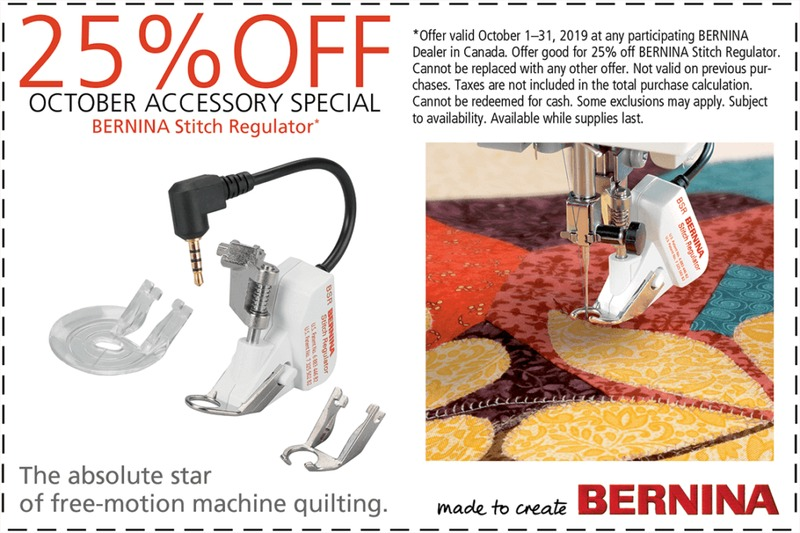 Bernina Foot Of The Month October 2019 Flyers Amp Specials